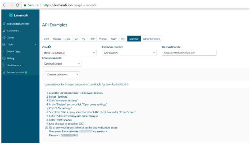 Luminati浏览器的API示例