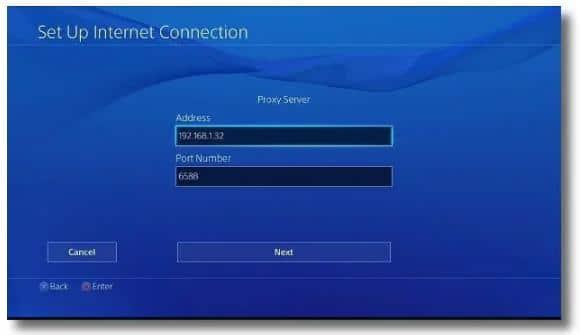 PS4 上设置代理服务器6